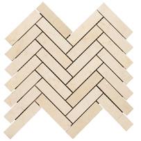 """Interceramic Marble Crema Marfil 1"""" x 4"""" Herringbone Polished Mosaic 12"""" x 10"""" Sheet"""