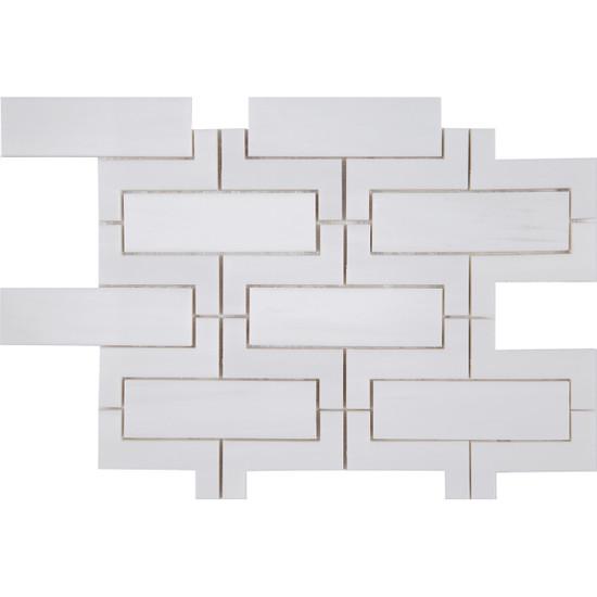 "Interceramic Marble Dolomite White Versailles Palace Polished Mosaic 9"" x 12"" Sheet"