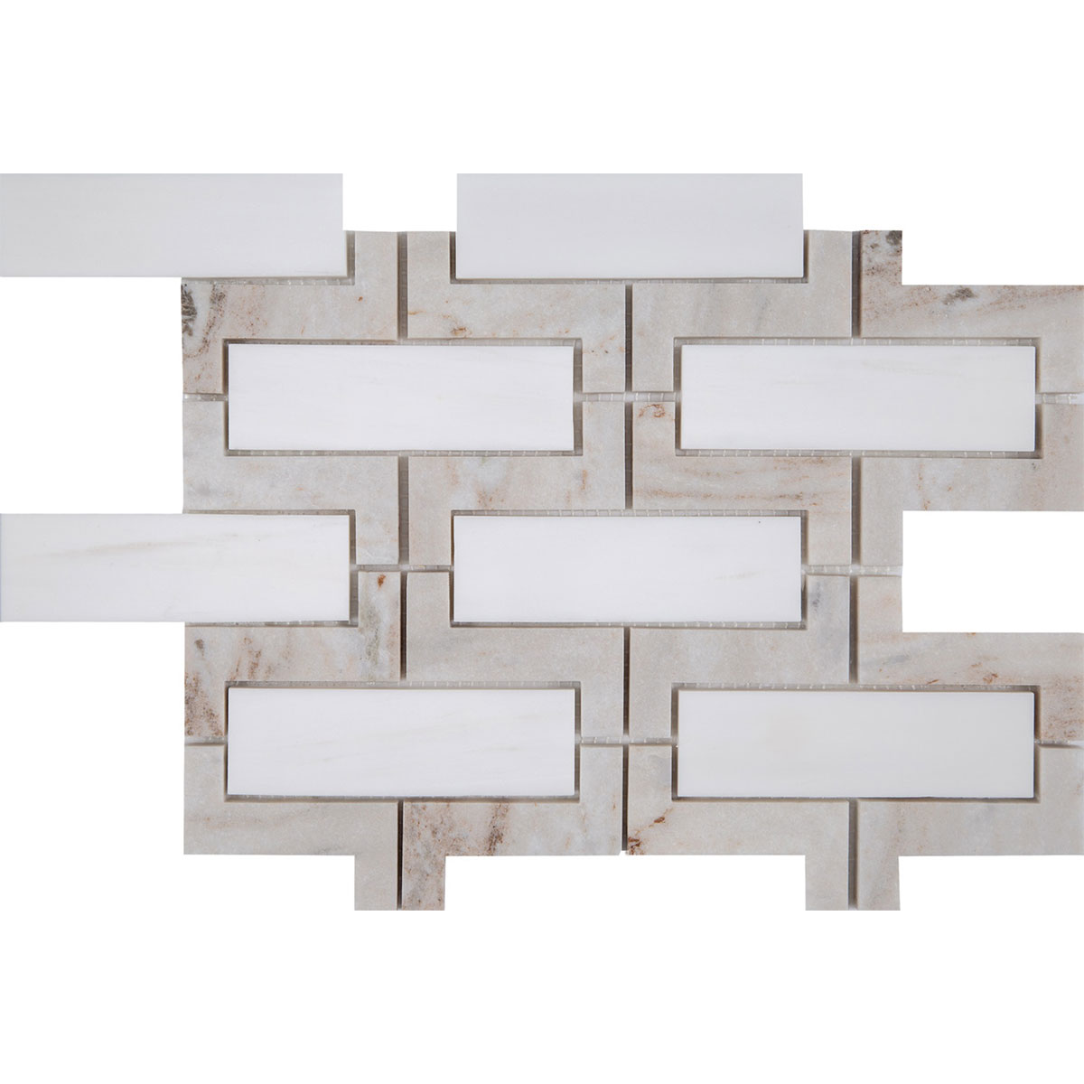 Interceramic Dolomite Marble Palissandro Polished Mosaic 9 X 12 Inch