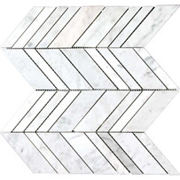 "Interceramic Marble White Carrara Arrow Polished Mosaic 10"" x 12"" Sheet"