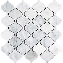 "Interceramic Marble White Carrara 2"" x 2"" Lantern Polished Mosaic 12"" x 12"" Sheet"