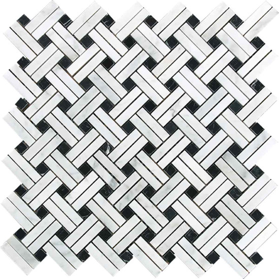 "Interceramic Marble White Carrara Lattice Basketweave Polished Mosaic 12"" x 12"" Sheet"