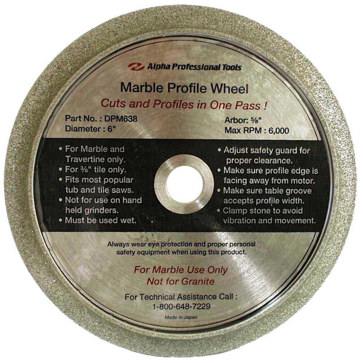 Alpha 6 inch Marble Profile Wheel