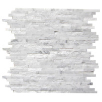"Interceramic Marble White Carrara Sticks Hi/Lo 12"" x 12"" Sheet"