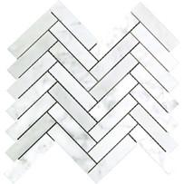 """Interceramic Marble White Carrara 1"""" x 4"""" Herringbone Mosaic Polished 12"""" x 10"""" Sheet"""