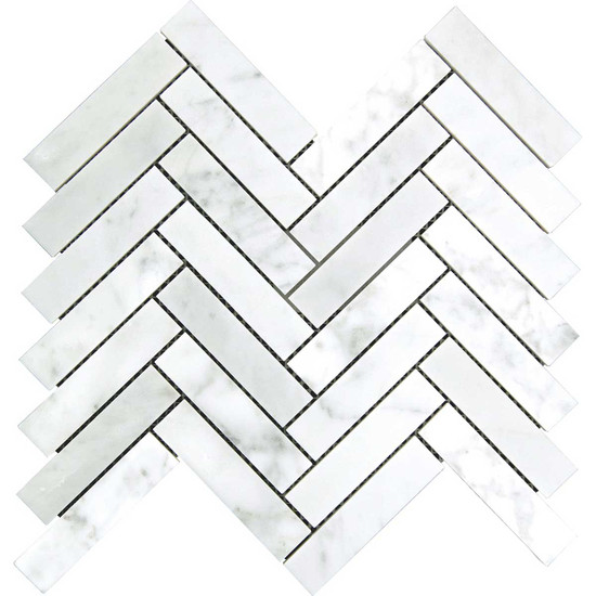 "Interceramic Marble White Carrara 1"" x 4"" Herringbone Mosaic Polished 12"" x 10"" Sheet"