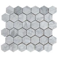 "Interceramic Marble White Carrara 2"" x 2"" Hexagon Mosaic Polished 12"" x 12"" Sheet"