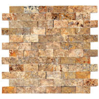 "Turkish Travertine 1"" x 2"" Autumn Leaves Split Face Mosaic 12"" x 12"" Sheet"