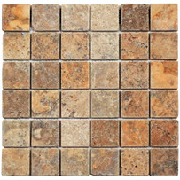 "Interceramic Turkish Travertine 2"" x 2"" Autumn Leaves Tumbled / Unfilled Mosaic 12"" x 12"" Sheet"