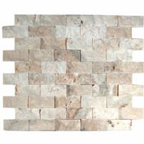 "Interceramic Turkish Travertine 1"" x 2"" La Travonya Split Face Mosaic 12"" x 12"" Sheet"