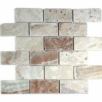 "Interceramic Turkish Travertine 2"" x 4"" La Travonya Tumbled Mosaic 12"" x 12"" Sheet"