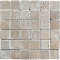 "Turkish Travertine 2"" x 2"" Noce Toros Tumbled Mosaic 12"" x 12"" Sheet"