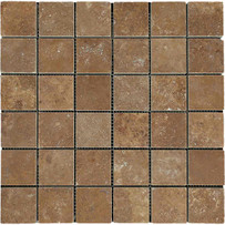 "Interceramic Turkish Travertine 2"" x 2"" Noce Toros Honed Mosaic 12"" x 12"" Sheet"