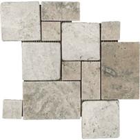 """Interceramic Turkish Travertine Silver Versailles Pattern Tumbled Mosaic 12"""" x 12"""" Sheet"""