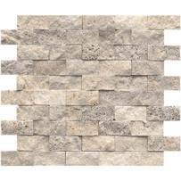 "Interceramic Turkish Travertine 1"" x 2"" Silver Split Face Mosaic 12"" x 12"" Sheet"
