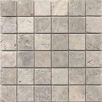 "Interceramic Turkish Travertine 2"" x 2"" Silver Tumbled Mosaic 12"" x 12"" Sheet"
