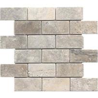 "Interceramic Turkish Travertine 2"" x 4"" Silver Tumbled Mosaic 12"" x 12"" Sheet"