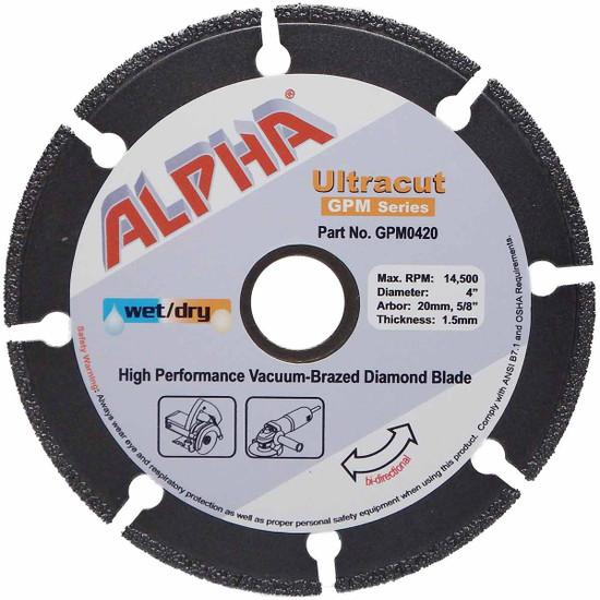"Alpha Ultracut GPM Series 4 inch Diamond Blade (20mm,5/8"")"