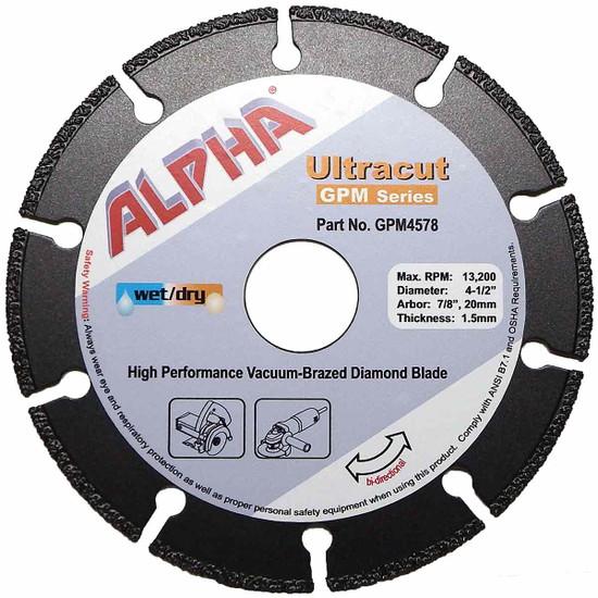 "Alpha Ultracut GPM Series 4-1/2 inch Diamond Blade (7/8"",20mm)"