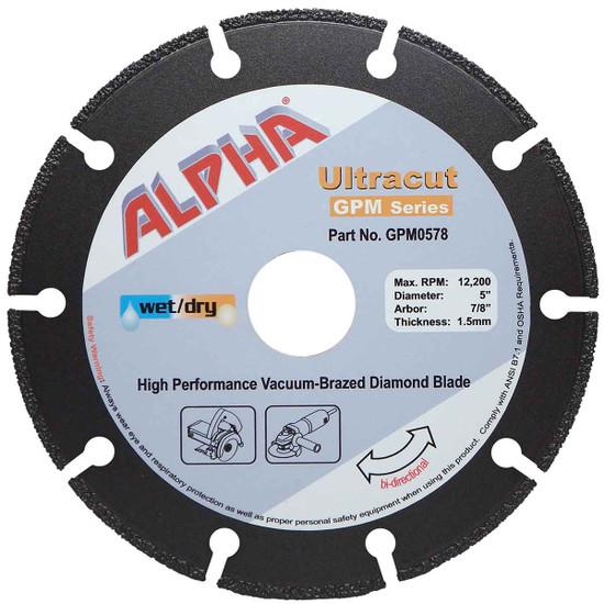 "Alpha Ultracut GPM Series 5 inch Diamond Blade (7/8"")"