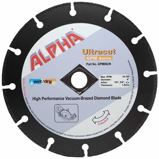 "Alpha Ultracut GPM Series 6 inch Diamond Blade (7/8"",5/8"")"