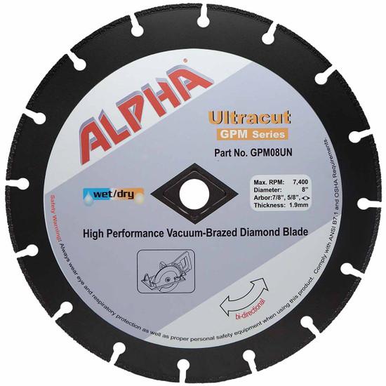 "Alpha Ultracut GPM Series 8 inch Diamond Blade (7/8"",5/8"")"