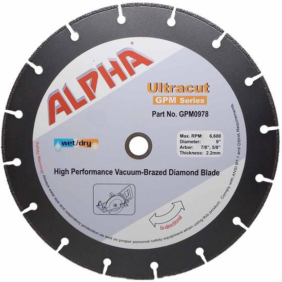 "Alpha Ultracut GPM Series 9 inch Diamond Blade (7/8"",5/8"")"