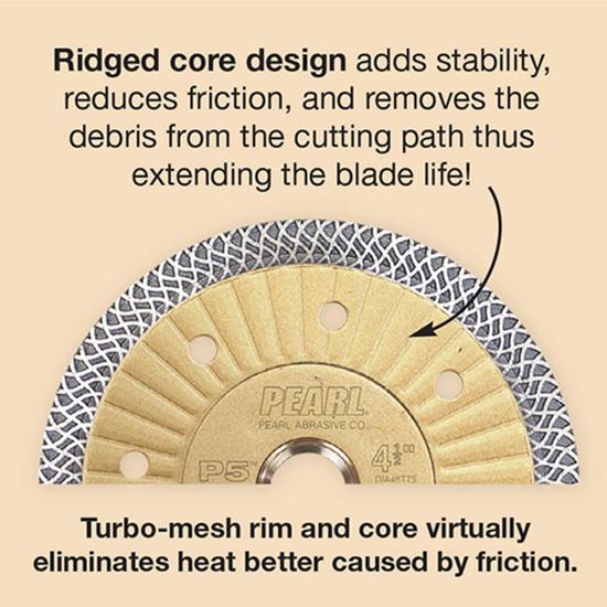 Pearl Abrasive P5 mesh blade with ridged core