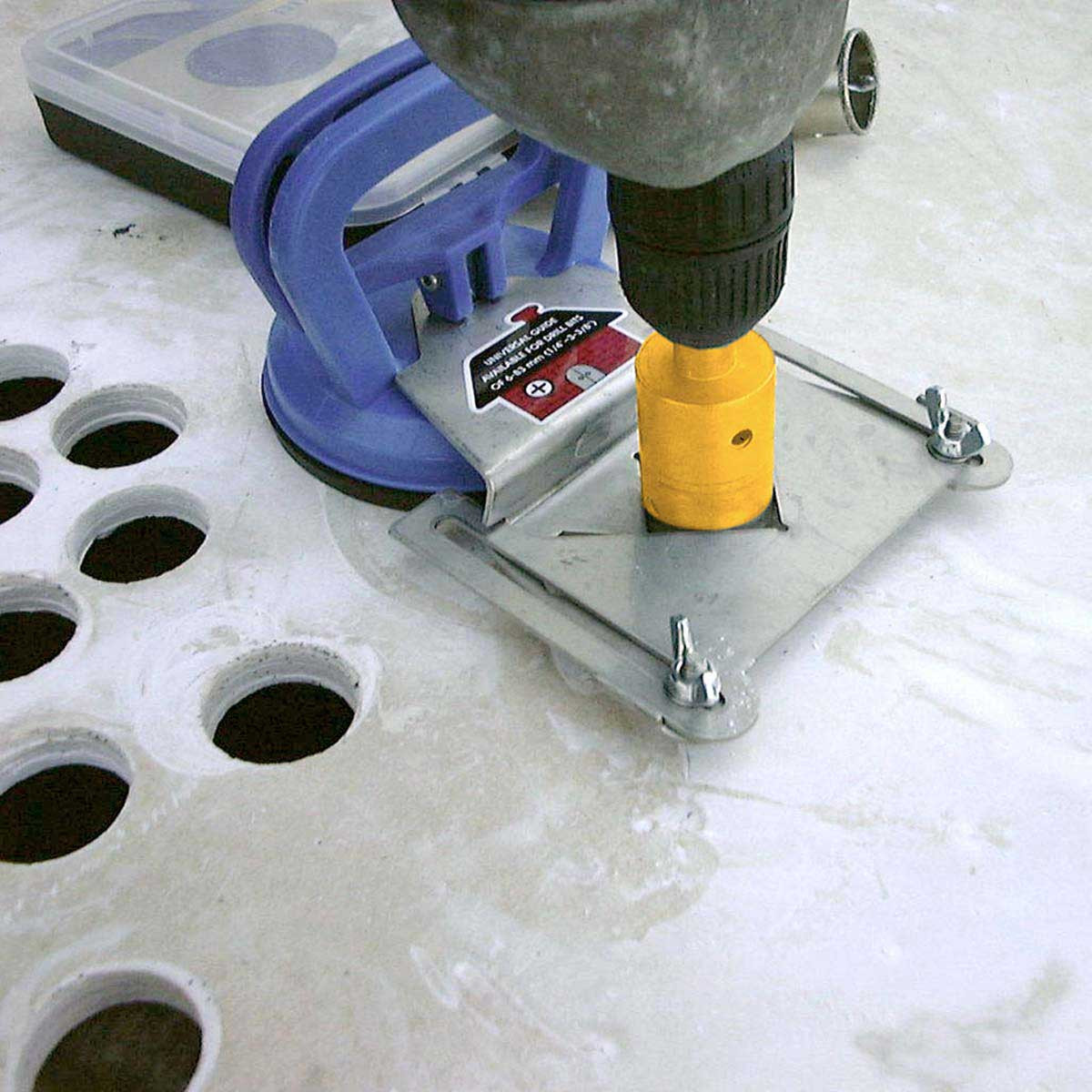 drilling with hole saw guide
