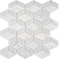 Chelsea Glass White 3D Box Mosaic Tile