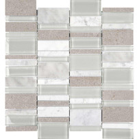 Chelsea Glass Gray Cascade Mosaic Tile