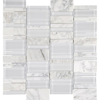 Chelsea Glass White Cascade Mosaic Tile