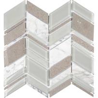 Chelsea Glass Gray Chevron Mosaic Tile
