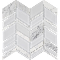 Chelsea Glass White Chevron Mosaic Tile