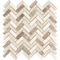 Chelsea Glass Beige Herringbone Mosaic Tile