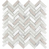 Chelsea Glass Gray Mosaic Tile Herringbone