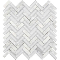 Chelsea Glass White Herringbone Mosaic Tile