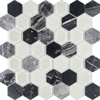 Chelsea Glass Dark Hexagon Mosaic Tile