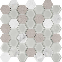 Chelsea Glass Gray Hexagon Mosaic Tile