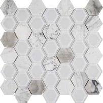 Chelsea Glass White Hexagon Mosaic Tile