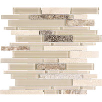 Chelsea Glass Beige Linear Mosaic Tile