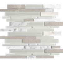Chelsea Glass Gray Linear Mosaic Tile