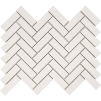 Foundation White Glossy Herringbone Mosaic Tile
