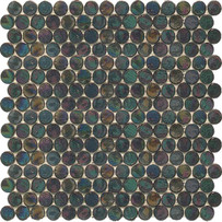 Interglass Penny Rounds Black Mosaic Tile