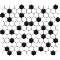White & Black Hexagon Mosaic Tile