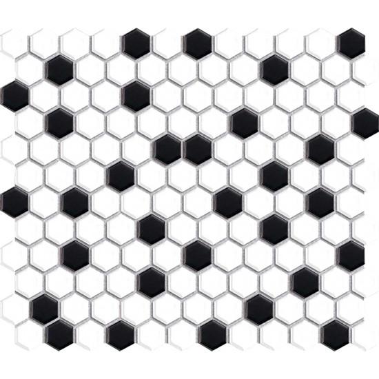 White & Black Hexagon Mosaic Tile