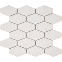 Waterford White Beveled Long Hexagon Mosaic Tile