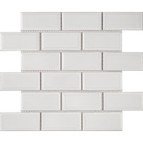 Waterford White Beveled Glossy Mosaic Tile