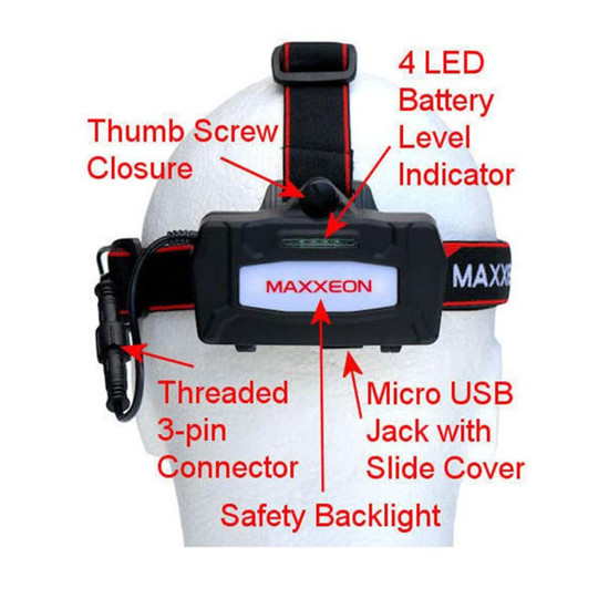 Maxxeon headlamp rechargeable battery features