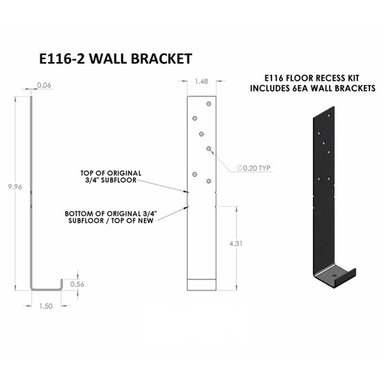 Ebbe E116-2 Floor Recess Kit Wall Bracket